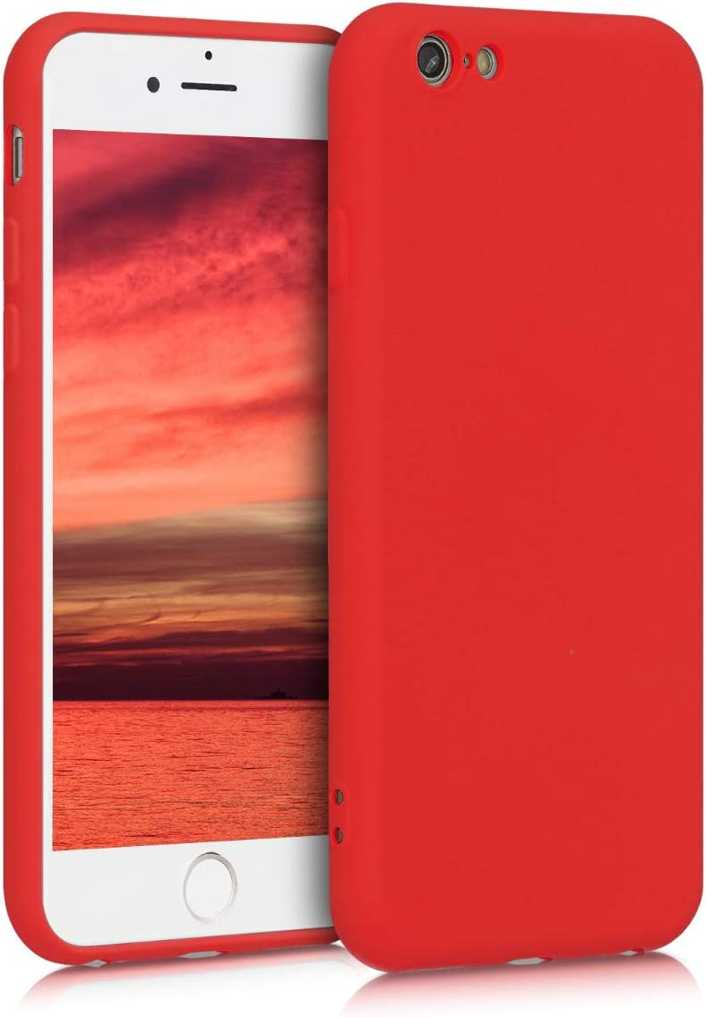 kwmobile Case Compatible with Apple iPhone 6 / 6S - Soft Rubberized TPU Slim Protective Cover for Phone - Red