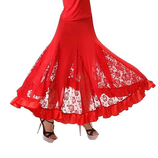 YROYKRRE Salsa señora Lace Danza Vestido de la Falda de América ...