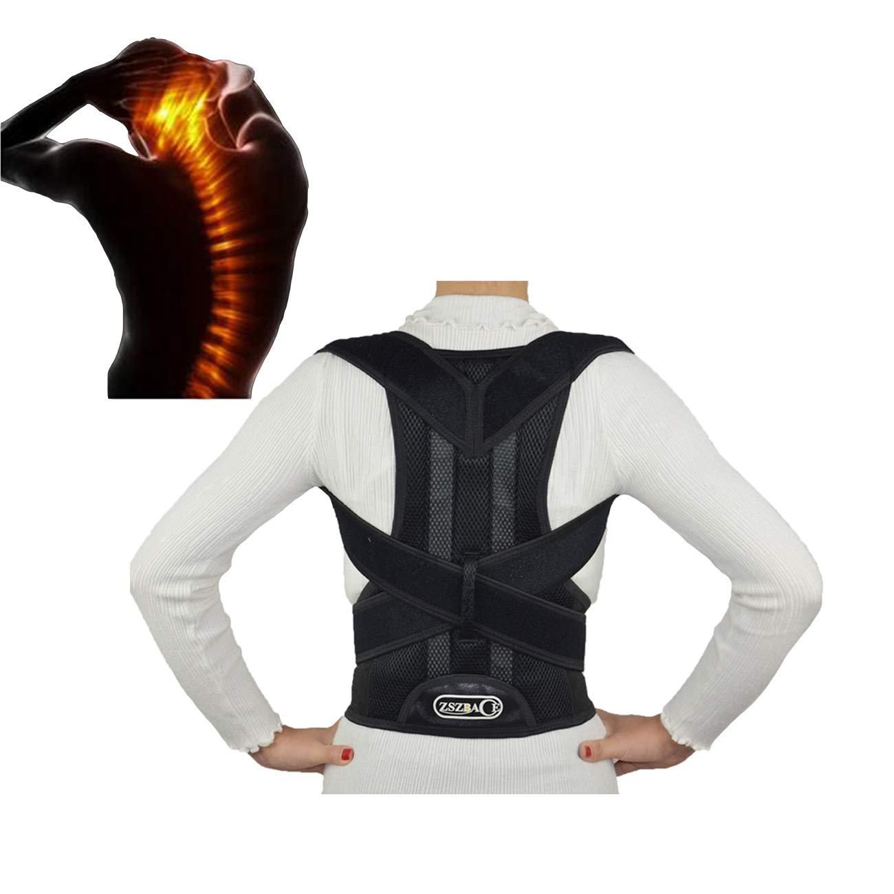 Treatment Anti-humpback Corrector,Shoulder Clavicle Supports,Corrector Back Brace,Back Support For Lower and Upper Back Pain. (Large)