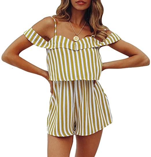 8cf9caa2d038 Women Summer Spaghetti Strap Striped Print Romper Off Shoulder Casual Short  Romper Jumpsuit Size S (