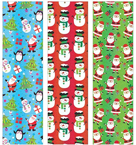 Premium Holographic Christmas Gift Wrap Cheerful Holidays Heavy Weight Thick Wrapping Paper for Men, Women, Boys, Girls, 3 Different 6 Ft X 40 in Rolls Included Xmas Trees, Santa, Snowman, Penguins
