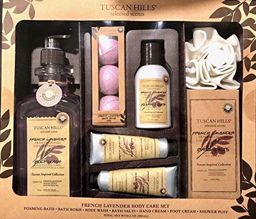 Tuscan Hills 7 piece Body Care Set, French Lavender Foaming Bath, Bath Bomb, Body Wash, Bath Salts, Hand Cream, Foot Cream, and Shower Puff, Gift Set TH105