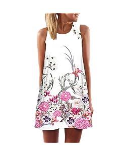 Bonjouree # Robe Manches Femme Mini-robe imprimée Boho de Plage Ete (Blanc C, XXXL)