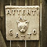 OrlandiStatuary FS59212 Beware of Cat Plaque Sculpture, Cathedral White Finish Review
