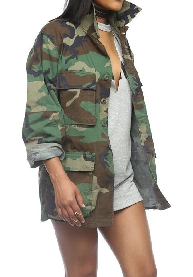 28b8aa79fe4c0 Amazon.com  Godeyes Womens Fashion Cardi Windbreaker Camo Single-Breasted  Outwear Printing Casual Army Long Jackets Coat  Clothing