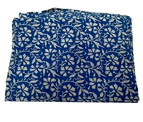 - Govindstore 5 Yard Indian Ethnic Cotton Handmade Voile Running Hand Block Print Hand Block Sanganeri Fabric for Dressmaking, Sewing, Crafting, Width- 44