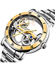 GuTe Luxury Steampunk See Through Mechanical Wristwatch Self-wind Golden Bezel Roman Numerals IK