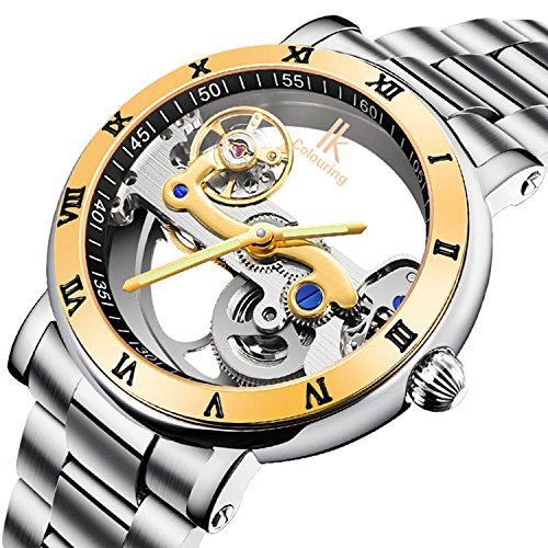 GuTe Luxury Steampunk See Through Mechanical Wristwatch Self-wind Golden Bezel Roman Numerals - Movement Skeleton