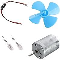 Gwxevce Kits de Bricolaje Micromotor de turbina eólica 6-9V / Mini Paleta de Hoja Azul/Diodos/Cables