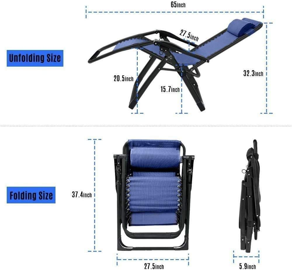 Akelizeng Zero gravity chairs sun loungers two sets, chaise lounge for garden,Blue Blue