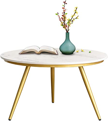 EKR Marble Coffee Table Gold Modern Accent Table Round Nesting Table Contemporary Desk Living Room Home Decor 27.56 inches/Height 17.1 inches Big Size