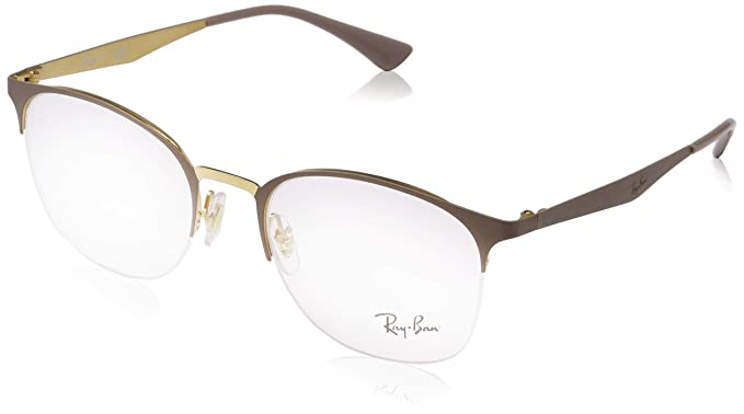 544cac8c59 Ray-Ban Women s 0rx6422 No Polarization Round Prescription Eyewear Frame  Gold on Top Matte Beige