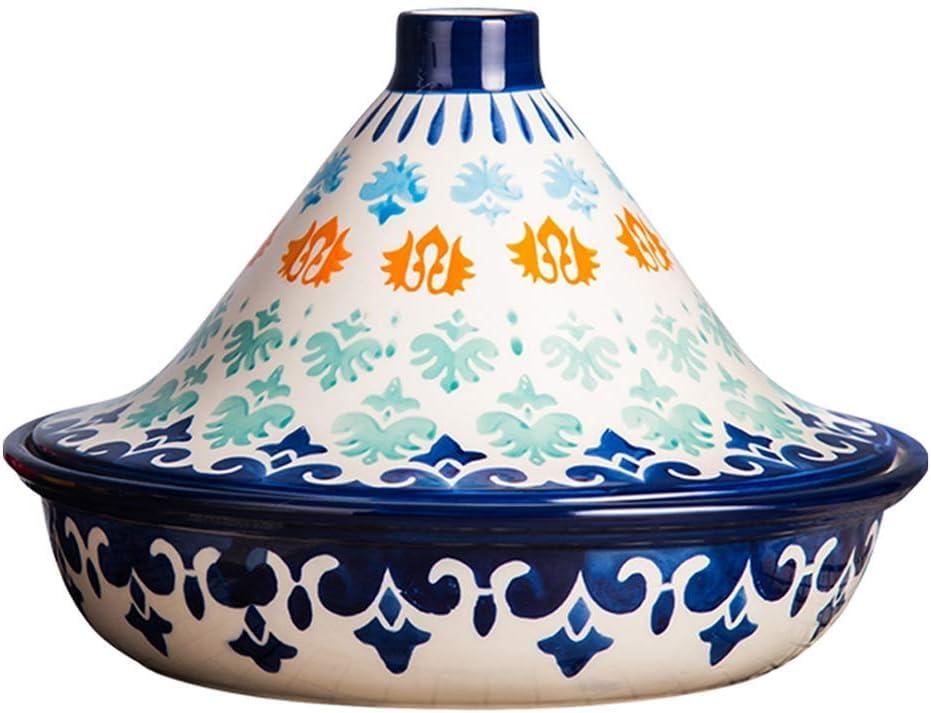 l.e.i. Handmade Underglaze Color Tagine,Ceramic Casserole,High Temperature Fired Healthy Clay,Micro Pressure Cooker,1.5LA