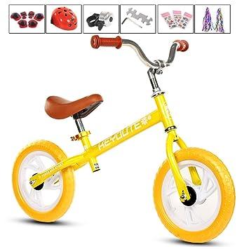 GSDZN - Bicicleta Sin Pedales para Niños☆ Ligero ☆ con Casco ☆ EVA Rueda ☆ Altura del Asiento Ajustable ☆ 2-6 Años,Yellow: Amazon.es: Jardín