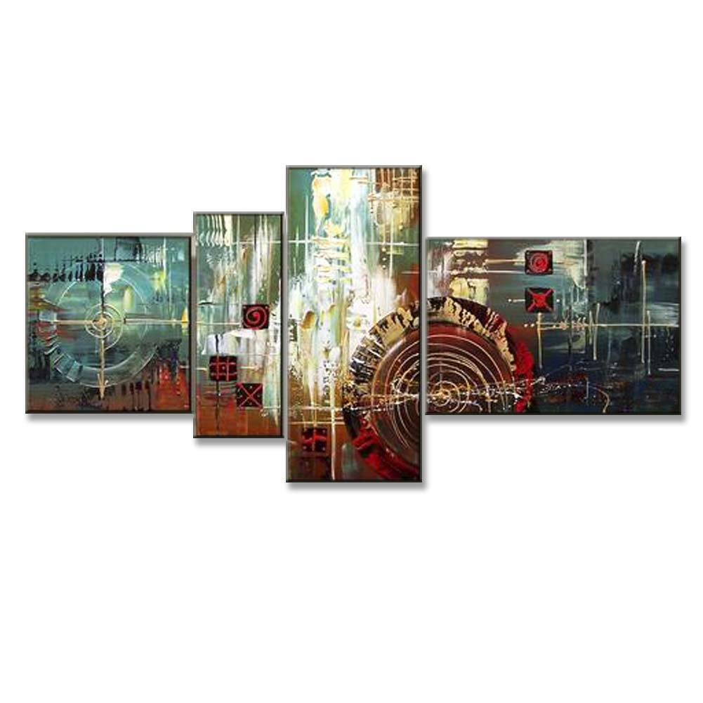 Hand Painted Split Canvas Paintings Unframed 4 Pieces - 68X36 inch (173X91 cm) for Living Room Bedroom Dining Room Wall Decor To DIY Frame Home Decoration - Haiti Abstract by Neron Art