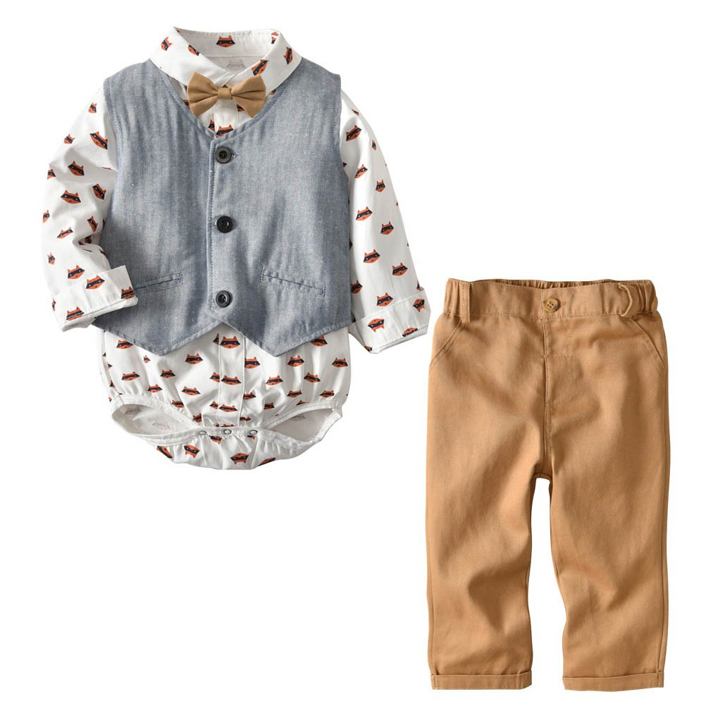 ARAUS Infant Boy Long Sleeve Clothing Set Shirt with Bowtie + Gilet + Pants 4Pcs