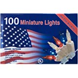 100 RED WHITE BLUE Lights Minature July 4th Christmas Mini Indoor / Outdoor (Pack of 2)