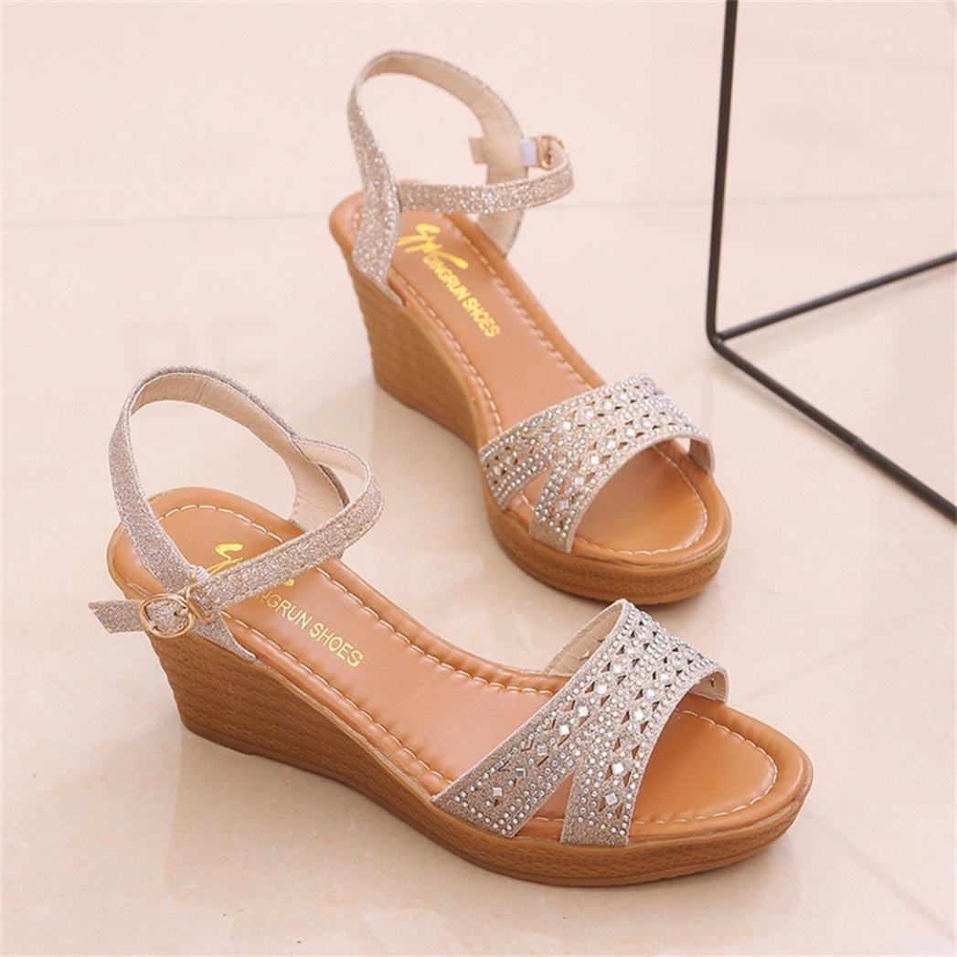Summer Women High Heels Sandals,Vanvler Ladies Fish Mouth Platform Wedge Sandals Slope Sandals Clearance B07D7RX7PB 5.5 US Gold
