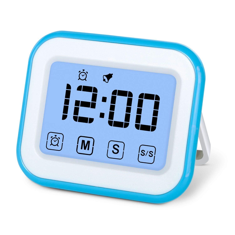 MOSUO Temporizador de Cocina, Cronómetro con Pantalla táctil, Temporizador Digital Magnético/Reloj/Alarma, Cuenta Atrás/hacia Delante, LED Pantalla ...