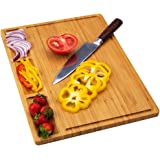 Large Bamboo Wood Cutting Board for Kitchen, Cheese Chopping Board, Butcher Block, Serving Tray with 3 Built-In Dividers…