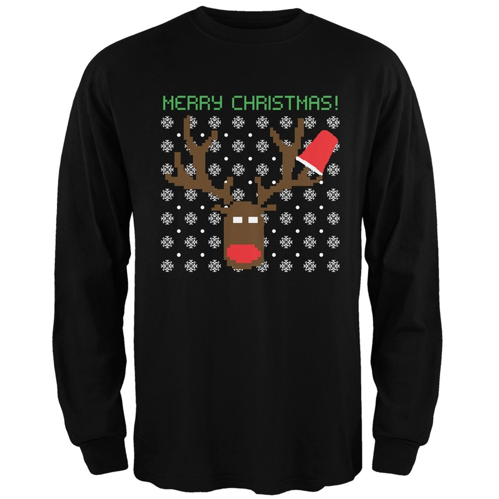 Party Deer Ugly Christmas Sweater Black Adult Long Sleeve T-Shirt Tees Plus