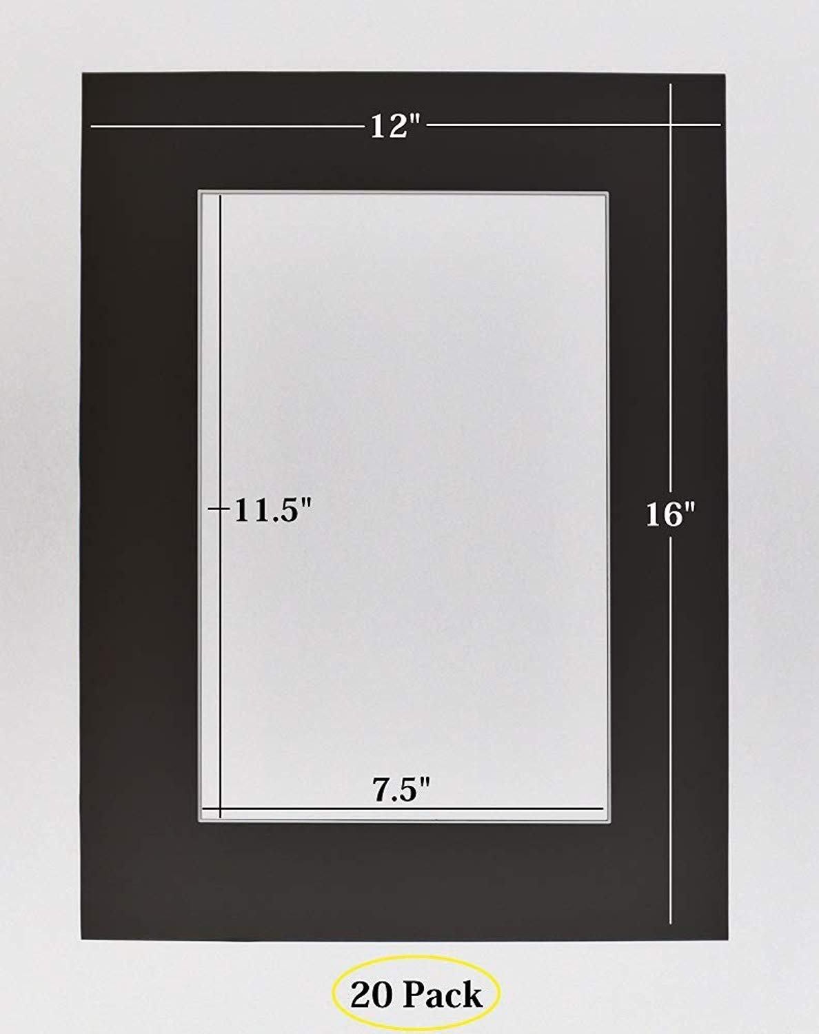 Pack of 20 12x16 Black Picture Mats with White Core Bevel Cut for 8x12 Pictures Golden State Art