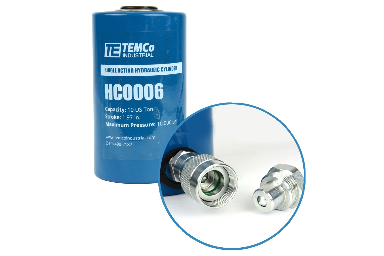 TEMCo HC0006 - Hydraulic Cylinder Ram Single Acting 10 TON 2'' Inch Stroke - 5 YEAR Warranty