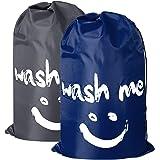 "2 Pack Extra Large Travel Laundry Bag Set Nylon Rip-Stop Dirty Storage Bag Machine Washable Drawstring Closure 24"" x 36"" (Blue and Gray) Dark Blue and Grey"
