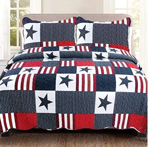 White /& Blue American Flag Stars /& Stripes Patriotic Twin Quilt /& Sham Red
