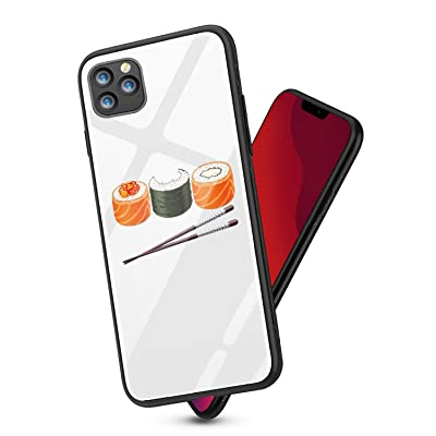 Alsoar Compatible para iPhone 11 Pro MAX 2019 (6.5 Inch) Funda Vidrio Templado Protectora Trasera Moda Lindo Patrón Silicona TPU Suave Marco Bumper Carcasas Anti-Rasguño Anti-Shock Cubiertas (Sushi): Electrónica