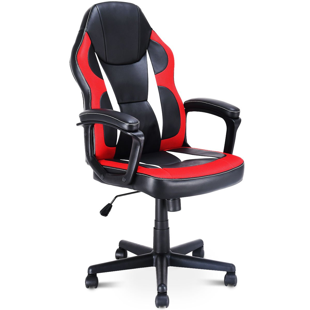Giantex Gaming Chair Executive Home Office Chair Racing Style Desk Task Computer Chair Swiveling Multidirectional Wheels Adjustable Height Ergonomic Highback Armchair (Style 3)