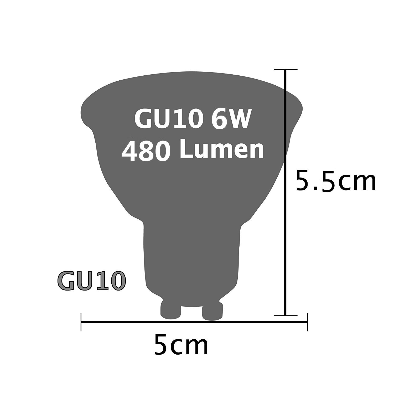 Bombillas LED Gu10 Lámparas Halógenas Equivalentes a 50W, Blanco 6500K, 6W , Spot luz,480LM, 6 Unidades 120 ° ángulo de haz, Ultra Brillante LED Bombillas: ...