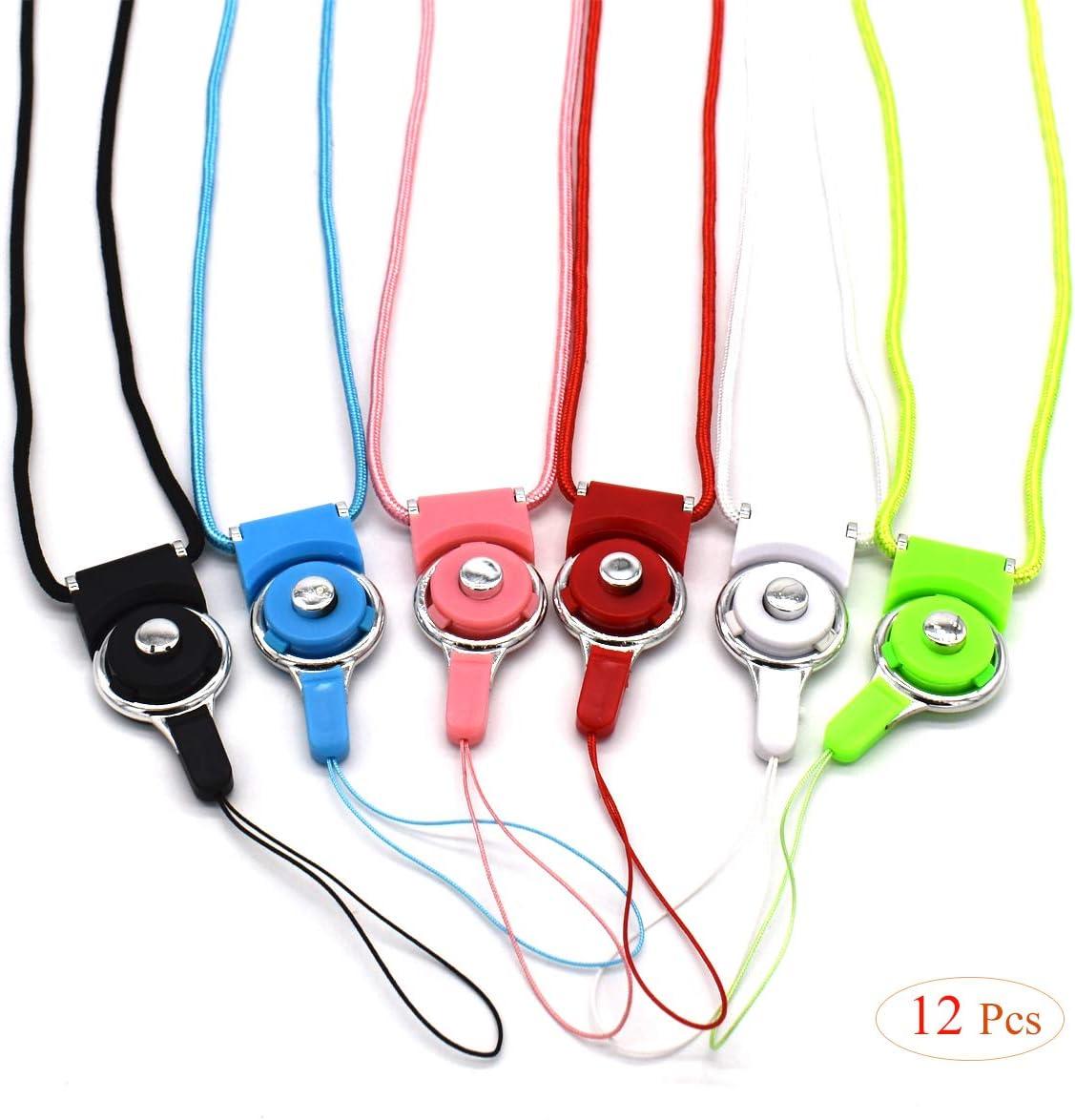 12 Piezas, 40cm Cordones de Cuello Desmontable,Xiuyer 6 Colores Acollador para Tel/éfonos M/óviles Neck Strap Nylon Lanyards para Celulares C/ámara Llavero Trjetas de Identificacion