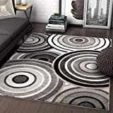Well Woven Carey Abstract Grey & Black Modern Geometric Circles 3x5 (3'3' x 5') Area Rug
