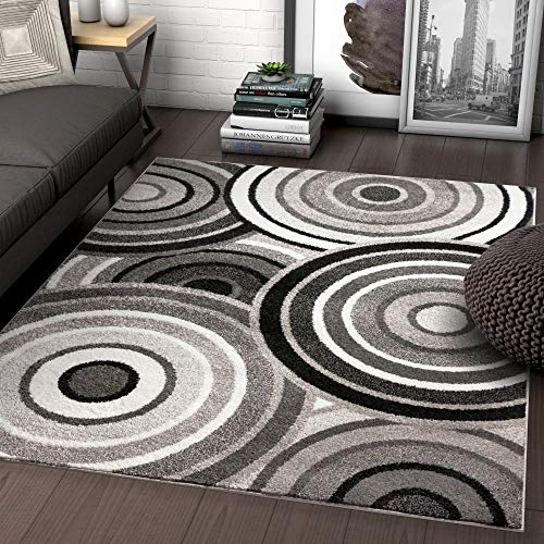 Well Woven Carey Abstract Grey & Black Modern Geometric Circles 8x10 (7'10