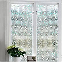 "Bloss Stained Glass Window Film Non-Adhesive Privacy Window Covering 3D Window Déco Mini Mosaic Design 17.7"" By 78.7"" ,1 Roll"