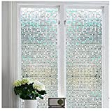 Bloss Stained Glass Window Film Non-Adhesive Privacy Window Covering 3D Window Déco Mini Mosaic Design 17.7' By 75.7' ,1 Roll