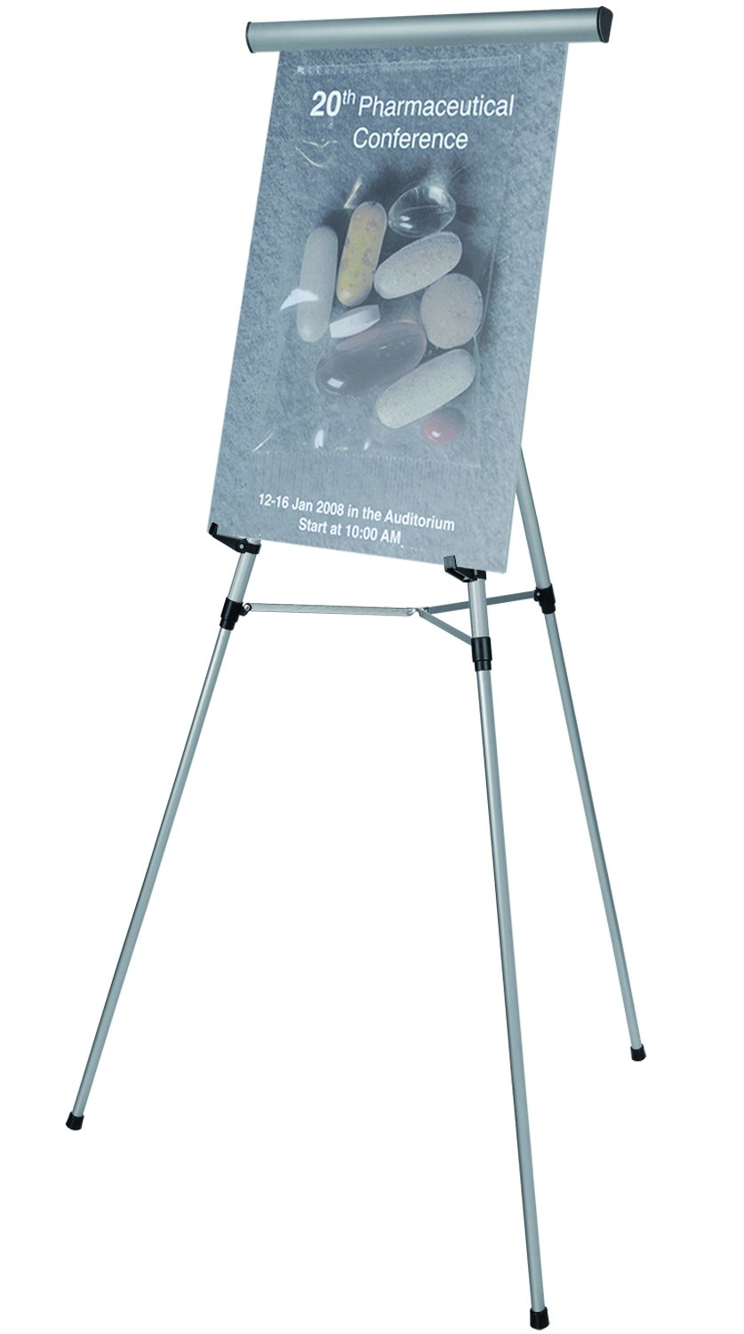 Bi-silque Visual Communication MasterVision 3-Leg Lightweight Telescoping Display Easel with Easel Pad Retainer, Black FLX09101MV