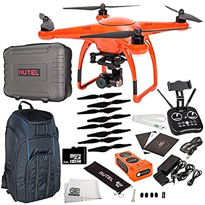 Autel Robotics X-Star Premium Quadcopter with 4K Camera, 3-Axis Gimbal (Orange) & Manufacturer Accessories + Sandisk Extreme 32GB microSD Card + Backpack Strap Carry System for Autel Drones + MORE by SSE