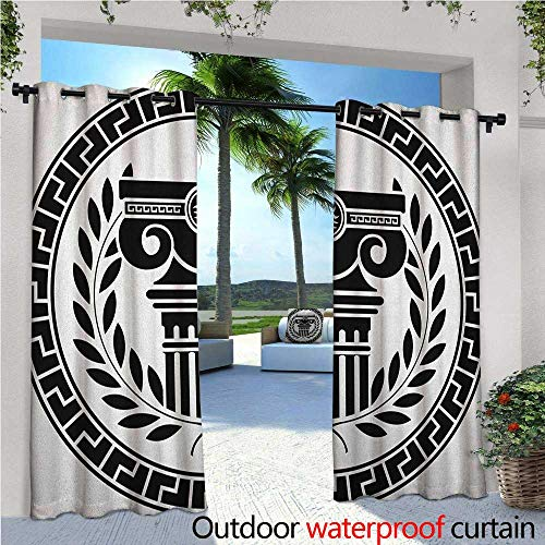 familytaste Toga Party Fashions Drape Hellenic Column and Laurel Wreath Heraldic Symbol with Olive Branch Graphic Outdoor Curtain Waterproof Rustproof Grommet Drape W72 x L84 Black White