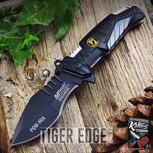 (Spring AssistedED Pocket Elite Folding Knife Mtech Black Gray POW MIA Tactical EDC + free eBook by ProTactical'US)