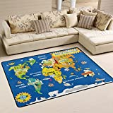 Cute Cartoon World Map with Animals Design Kids Area Rugs Pad Non-Slip Kitchen Floor Mat for Living Room Bedroom 5′ x 7′ Doormats Home Decor For Sale