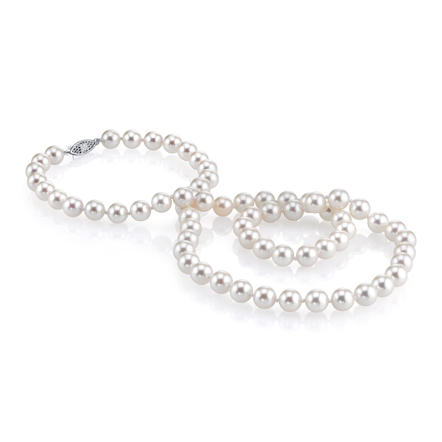 THE PEARL SOURCE 14K Gold 9-10mm AAA Quality White Freshwater Cultured Pearl Necklace for Women in 24'' Matinee Length