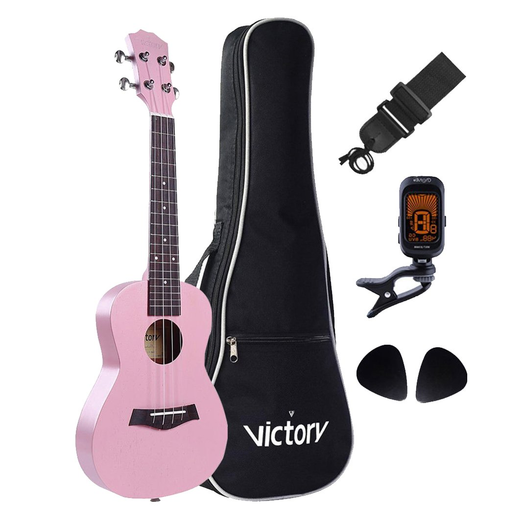 VI VICTORY Deluxe 23 Concert Ukulele set All Mahagany Aquila String FREE Gift Kit for Bag, Strap, Picks and clip on tuner-Black color (Good Choice For Sweet)) LUK-003C