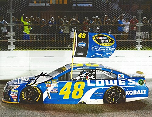 AUTOGRAPHED 2016 Jimmie Johnson #48 Lowes Racing 7X NASCAR CHAMPION (Homestead-Miami Speedway) Championship Flag Signed Collectible Picture NASCAR 9X11 Inch Glossy Photo with (Speedway Nascar Picture)