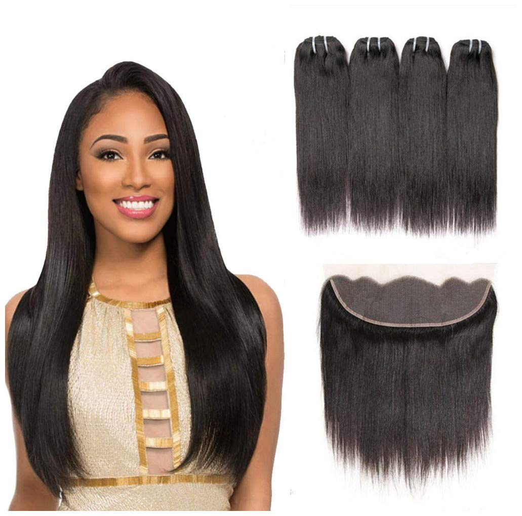 8A Brazilian Virgin Hair Straight Human Hair with Frontal Brazilian Straight Hair Lace Frontal Closure with Bundles Straight Hair Bundles with Lace Frontal (10 10 10 10+10)