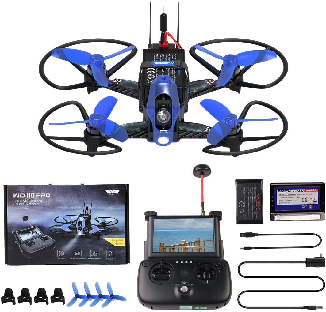 Adults Drones Weyland WD 110 Pro Racing FPV RC Carbon Fiber Drone with HD Wide-Angle Video Camera 3D Flips Quadcopter,Brushless Motor,Altitude Hold,LED Lighting
