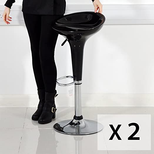 Plastic Bar Stool Gas Lift Barstools Breakfast Kitchen Bombo Style - Black & Plastic Bar Stool Gas Lift Barstools Breakfast Kitchen Bombo Style ... islam-shia.org