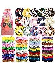 65 Pcs Hair Scrunchies Velvet Hair Scrunchies Silk Scrunchies Chiffon Flower Scrunchies Elastic Hair Ties Ropes Scrunchie for Women or Girls Hair Accessories