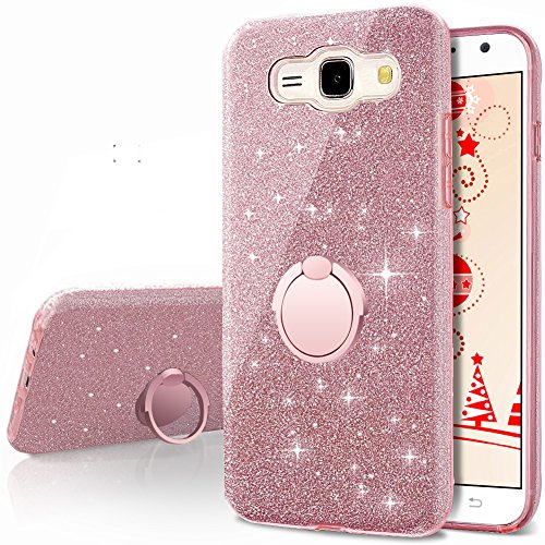 Galaxy J1 Case (2016), Galaxy Luna / Express 3 / Amp 2 Glitter Case With 360 Rotating Ring Stand, Soft TPU Outer Cover + Hard PC Inner Shellfor Samsung Galaxy J1 2016 -Rose Gold
